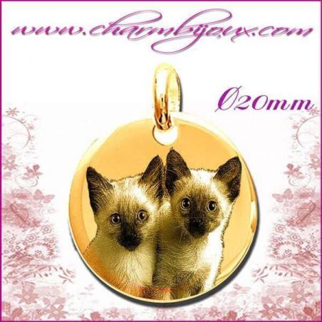 Médaille Ronde bombée en Plaqué or 18 carats - GRAVURE PHOTO de votre Animal de compagnie et GRAVURE TEXTE