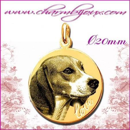 Médaille Ronde Love en Plaqué or 18 carats - GRAVURE PHOTO de votre Animal de compagnie et GRAVURE TEXTE