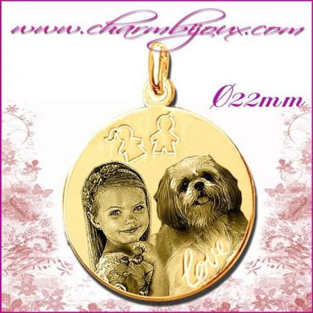 Médaille Ronde Love fille garçon en Plaqué or 18 carats - GRAVURE PHOTO de votre Animal de compagnie et GRAVURE TEXTE