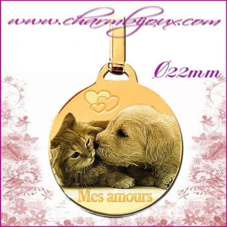 Médaille Ronde plate en Plaqué or 18 carats - GRAVURE PHOTO de votre Animal de compagnie et GRAVURE TEXTE