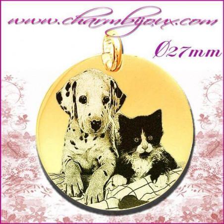 Médaille Ronde grand modèle en Plaqué or 18 carats - GRAVURE PHOTO de votre Animal de compagnie et GRAVURE TEXTE