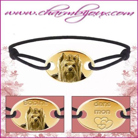 Bracelet cordon avec plaque ovale en Plaqué or 18 carats- Gravure Photo de votre animal de compagnie
