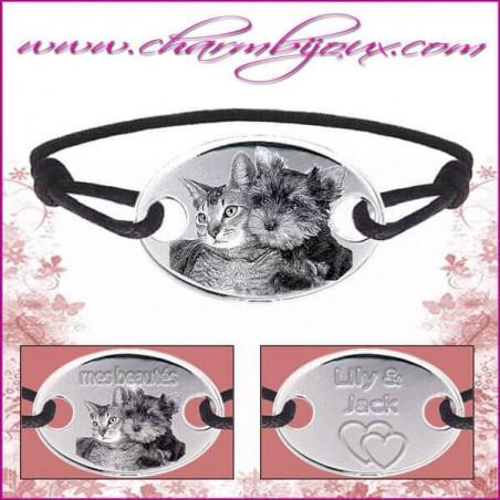 Bracelet cordon avec grande plaque ovale en Argent - Gravure Photo de votre animal de compagnie