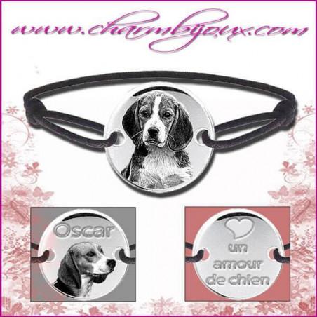 Bracelet cordon avec plaque ronde en Argent - Gravure Photo de votre animal de compagnie