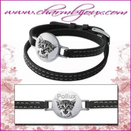 Bracelet Cuir avec plaque ronde en Acier - Gravure Photo animal de compagnie et Gravure Texte