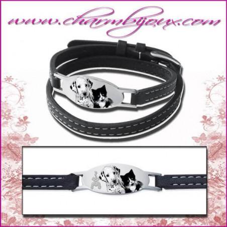 Bracelet Cuir avec plaque ovale en Acier - Gravure Photo animal de compagnie et Gravure Texte