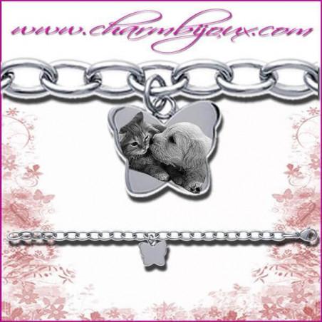 Bracelet Papillon en Acier inoxydable avec GRAVURE PHOTO OFFERTE de votre animal de compagnie