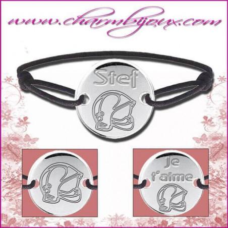 Bracelet cordon avec plaque ronde en Argent - Gravure Casque de pompier OFFERTE