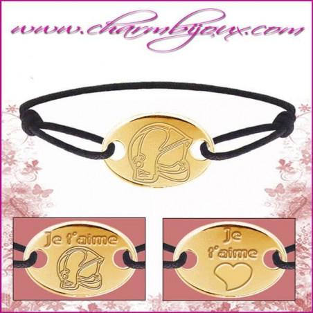 Bracelet cordon avec plaque ovale en Plaqué or 18 carats - Gravure Casque de pompier OFFERTE
