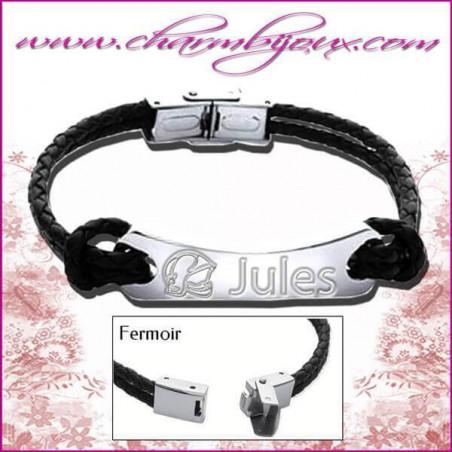 Bracelet Pompier Cuir noir avec 2 noeuds de chaque côté de la plaque rectangle en Acier- Gravure Pompier