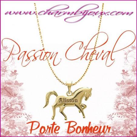 Collier Cheval en Plaqué or 18 carats - Gravure Prénom OFFERTE