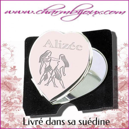 Miroir de sac Coeur en Acier avec gravure Zodiaque OFFERTE -Texte Prénom Date