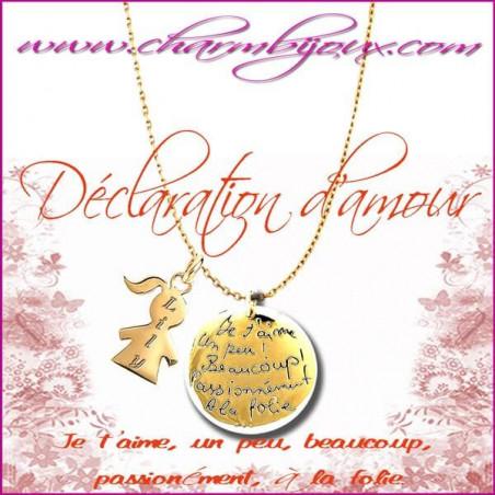Collier déclaration d'amour en Plaqué Or 18 carats- Gravure Prénom OFFERTE sur Fille