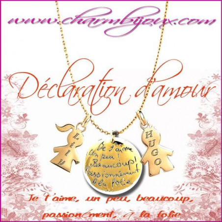 Collier déclaration d'amour en Plaqué Or 18 carats- Gravures Prénoms OFFERTES sur Fille - Garçon