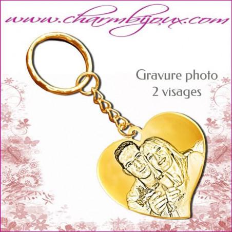 Porte Clé grand Coeur penché Gravure Photo OFFERTE et Gravure Texte - Doré