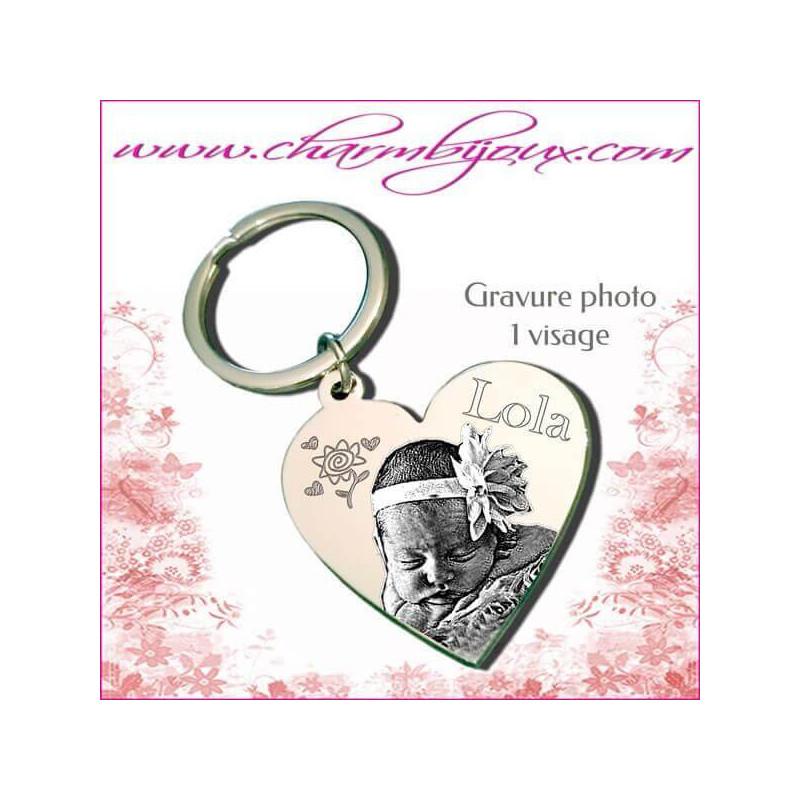Porte cl coeur gravure photo offerte et gravure texte acier - Porte cle personnalise avec photo gravure ...