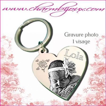 Porte Clé Coeur Gravure Photo OFFERTE et Gravure Texte- Acier inoxydable
