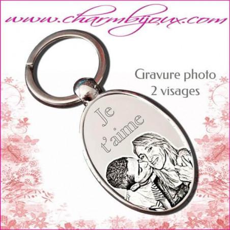 Porte Clé grand Ovale Gravure Photo OFFERTE et Gravure Texte - Acier inoxydable - Effet miroir