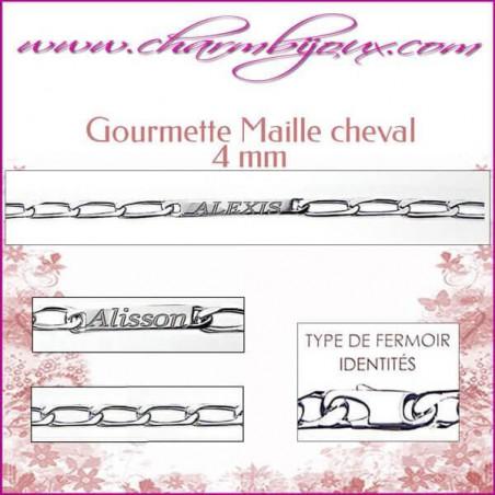 Gourmette Maille Cheval 18 cm pour Homme Femme Enfant - Gravure prénom OFFERTE- Argent véritable 925000 garanti