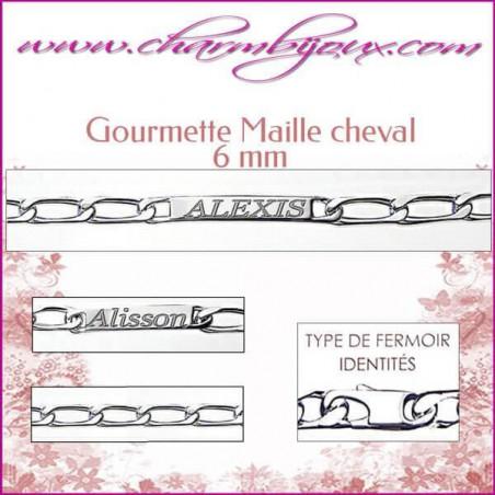 Gourmette Maille Cheval 20 cm pour Homme Femme Enfant - Gravure prénom OFFERTE- Argent gourmette femme