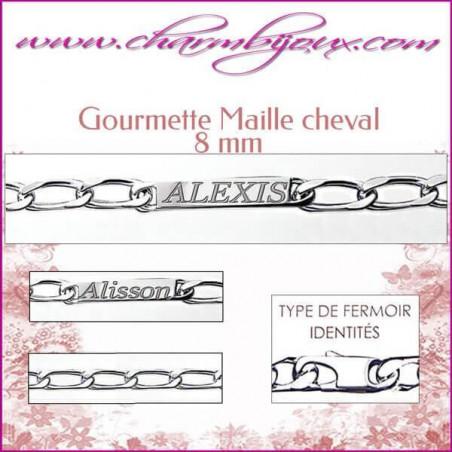 Gourmette Maille Cheval 21 cm pour Homme Femme- Gravure prénom OFFERTE- Argent véritable 925000 garanti