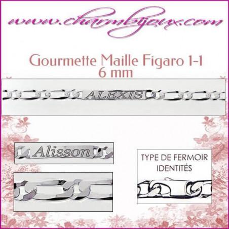 Gourmette Maille Figaro 20 cm pour Homme Femme Enfant - Gravure prénom OFFERTE- Argent véritable 925000 garanti