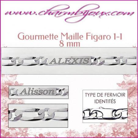 Gourmette Maille Figaro 21 cm pour Homme Femme- Gravure prénom OFFERTE- Argent véritable 925000 garanti