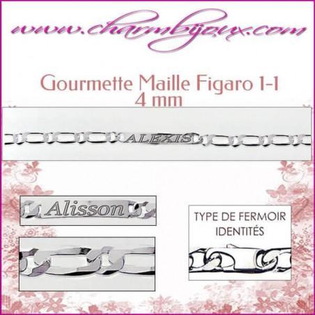 Gourmette Maille Figaro 18 cm pour Homme Femme Enfant - Gravure prénom OFFERTE- Argent véritable 925000 garanti