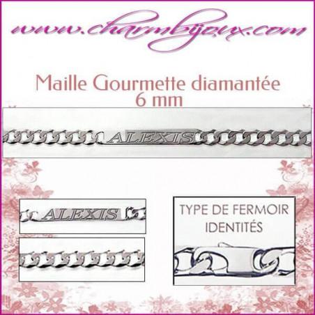 Bracelet Maille Gourmette 18 cm pour Homme Femme Enfant - Gravure prénom OFFERTE- Argent véritable 925000 garanti