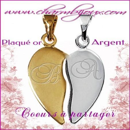 Pendentif double coeurs à partager en Argent véritable et Plaqué or - Gravure initiales