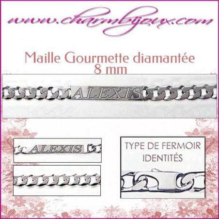 Bracelet Maille Gourmette 21 cm pour Homme Femme Enfant - Gravure prénom OFFERTE- Argent véritable 925000 garanti