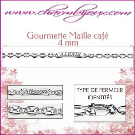 Gourmette Maille café 18 cm pour Homme Femme Enfant - Gravure prénom OFFERTE- Argent véritable 925000 garanti