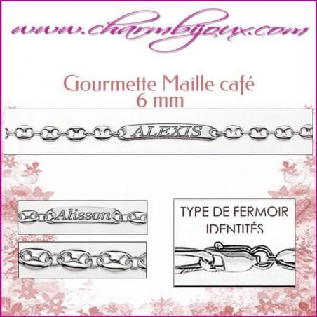 Gourmette Maille Café 21 cm pour Homme Femme Enfant - Gravure prénom OFFERTE- Argent véritable 925000 garanti