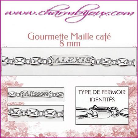 Gourmette Maille Café 22 cm pour Homme Femme - Gravure prénom OFFERTE- Argent véritable 925000 garanti