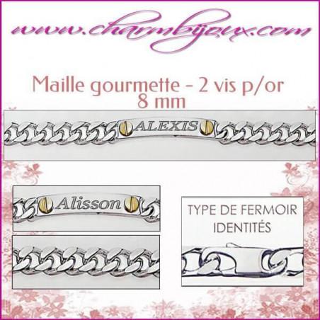 Gourmette Maille plate avec 2 vis plaqué or 21 cm pour Homme Femme - Gravure prénom OFFERTE- Argent véritable 925000 garanti