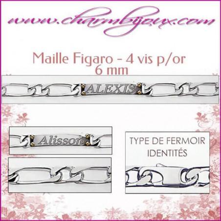 Gourmette Maille figaro 4 vis plaqué or pour Homme Femme - Gravure prénom OFFERTE- Argent véritable 925000 garanti