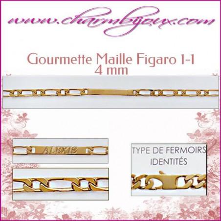 Gourmette Maille Figaro 18 cm pour Homme Femme Enfant - Gravure prénom OFFERTE- Plaqué Or 18 carats
