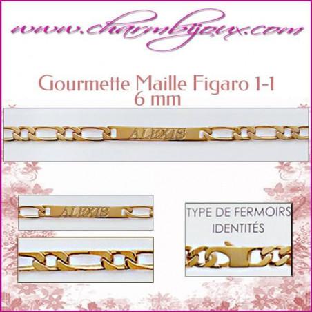 Gourmette Maille Figaro 20 cm pour Homme Femme Enfant - Gravure prénom OFFERTE- Plaqué Or 18 carats