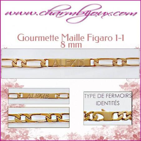 Gourmette Maille Figaro 21 cm pour Homme Femme Enfant - Gravure prénom OFFERTE- Plaqué Or 18 carats