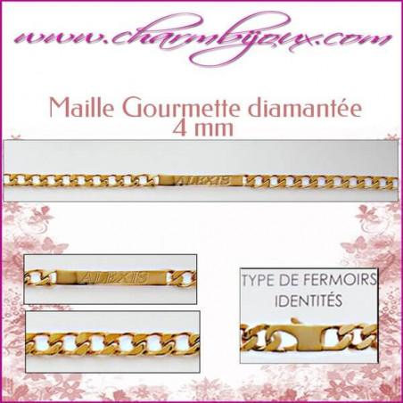 Bracelet identité Maille Gourmette 18 cm pour Homme Femme Enfant - Gravure prénom OFFERTE- Plaqué Or 18 carats