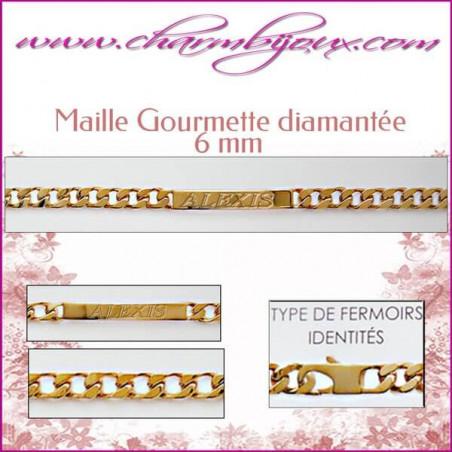 Bracelet identité Maille Gourmette 20 cm pour Homme Femme Enfant - Gravure prénom OFFERTE- Plaqué Or 18 carats