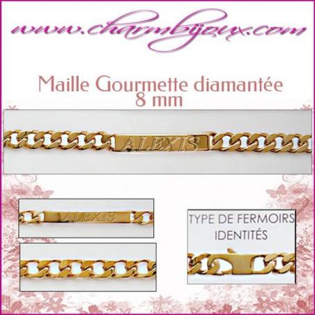 Bracelet identité Maille Gourmette 21 cm pour Homme Femme Enfant - Gravure prénom OFFERTE- Plaqué Or 18 carats