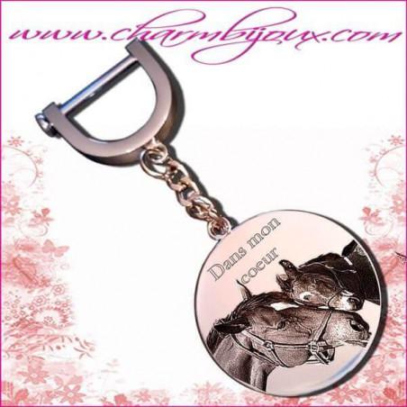 Porte clé grand Rond Gravure Photo Animal de compagnie OFFERTE - Acier inoxydable