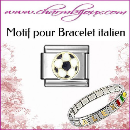 Motif Ballon de football : Motif Italien pour bracelet italien en Inox