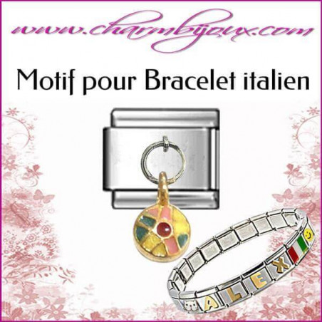 Motif Ballon de plage : Motif Italien pour bracelet italien en Inox