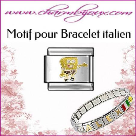 Motif Bob l'éponge : Motif Italien pour bracelet italien en Inox