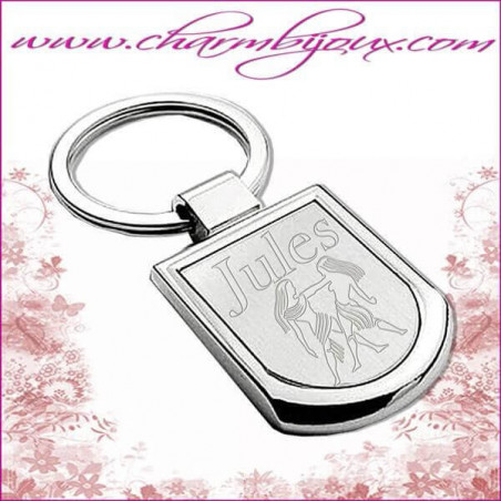 Porte clé Ecusson Gravure signe du zodiaque OFFERTE - Effet miroir - Acier inoxydable