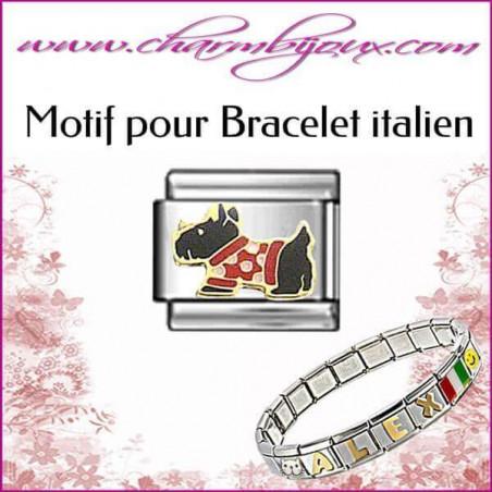 Maillon chien : Motif Italien pour bracelet italien en Acier
