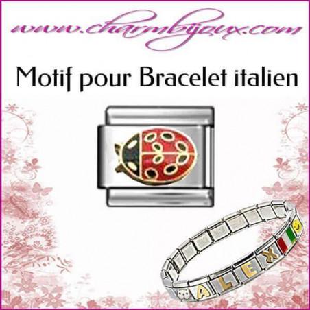 Maillon coccinnelle : Motif Italien pour bracelet italien en Acier
