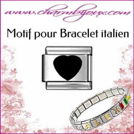 Maillon Coeur noir : Motif Italien pour bracelet italien en Acier